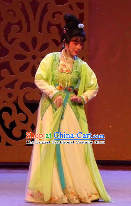 Chinese Shaoxing Opera Diva The Wrong Red Silk Costumes Yue Opera Garment Young Lady Rich Mistress Apparels Dress and Hair Accessories