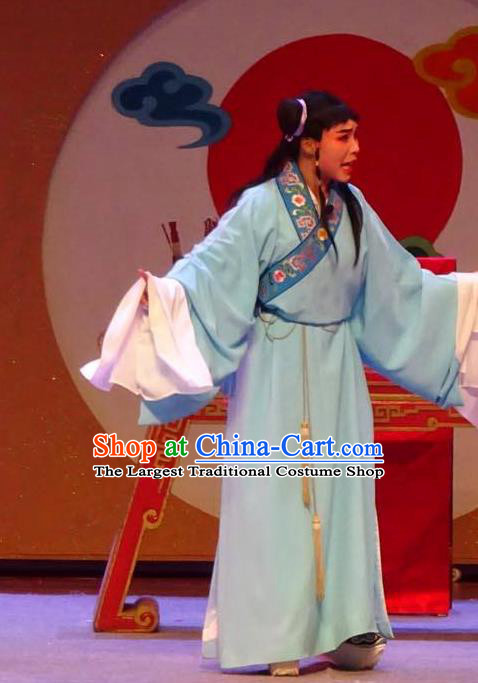 Chinese Yue Opera Costumes The Wrong Red Silk Xiao Sheng Garment Shaoxing Opera Young Man Role Apparels Robe and Headwear