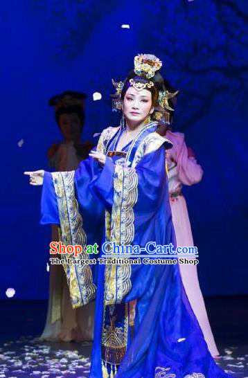 Chinese Shaoxing Opera Empress Costumes Yue Opera Zhen Huan Apparels Hua Tan Garment Imperial Queen Blue Dress and Headdress