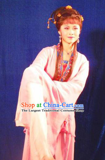 Chinese Shaoxing Opera Xiao Dan Apparels Flirting Scholar Hua Tan Costumes Yue Opera Garment Maidservant Qiu Xiang Dress and Hair Accessories