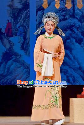 Chinese Yue Opera Gifted Scholar Costumes Flirting Scholar Garment Shaoxing Opera Xiao Sheng Young Man Role Apparels Robe and Hat