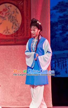 Chinese Shaoxing Opera Xiao Dan Maidservant Apparels Flirting Scholar Costumes Yue Opera Servant Girl Dress Garment and Hair Ornament