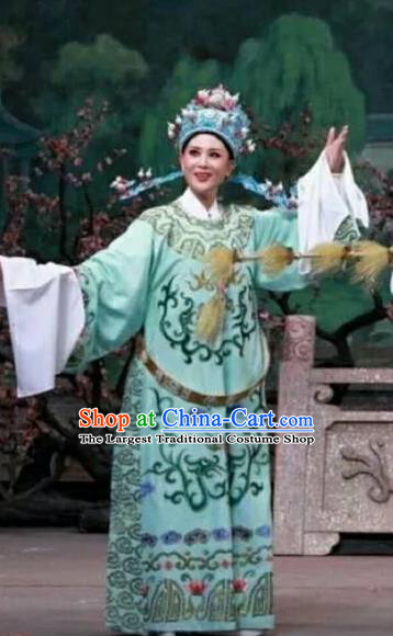 Chinese Yue Opera Young Male Meng Lijun Costumes Garment Shaoxing Opera Xiaosheng Scholar Green Python Embroidered Robe Apparels and Headpiece