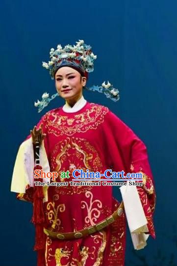 Chinese Yue Opera Number One Scholar Costumes Garment Shaoxing Opera Meng Lijun Apparels Young Male Red Python Embroidered Robe and Headwear