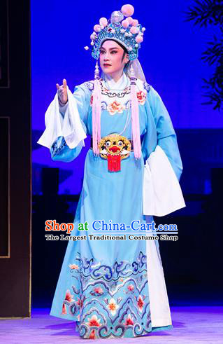 Chinese Yue Opera Official Costumes Garment Shaoxing Opera Meng Lijun Apparels Young Male Scholar Blue Embroidered Robe and Headwear