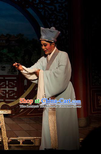 Chinese Yue Opera Xiaosheng Servant Costumes Flirting Scholar Garment Shaoxing Opera Young Male Hua An Apparels Robe and Hat
