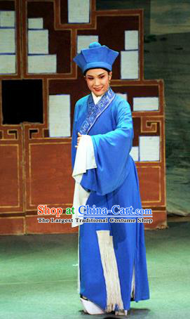 Chinese Yue Opera Servant Costumes Flirting Scholar Garment Shaoxing Opera Young Male Role Xiaosheng Hua An Apparels Blue Robe and Hat