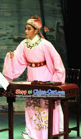Chinese Yue Opera Calligrapher Costumes Flirting Garment Shaoxing Opera Young Male Role Apparels Scholar Wen Zhengming Pink Robe and Hat