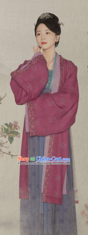 Chinese Ancient Noble Lady Hanfu Dress Drama Serenade of Peaceful Joy Historical Costumes Song Dynasty Imperial Consort Garment and Hair Accessories