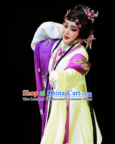 Chinese Shaoxing Opera Hua Tan Dress Garment Dong Xiaowan And Mao Bijiang Yue Opera Costumes Young Female Geisha Apparels and Hair Jewelry