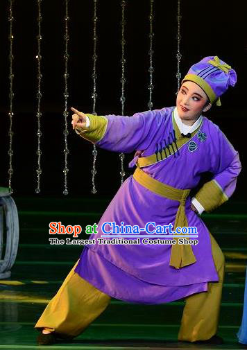 Chinese Yue Opera Servant Costumes and Hat Shaoxing Opera Dong Xiaowan And Mao Bijiang Apparels Livehand Purple Garment