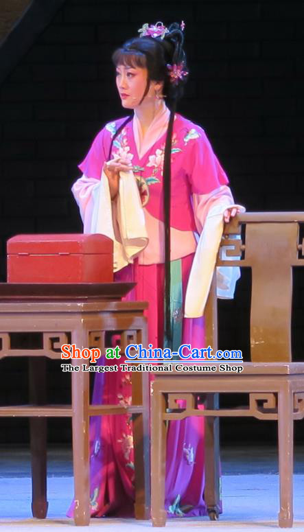 Chinese Shaoxing Opera Dong Xiaowan And Mao Bijiang Rosy Dress Garment Yue Opera Hua Tan Costumes Young Female Actress Apparels and Headpieces