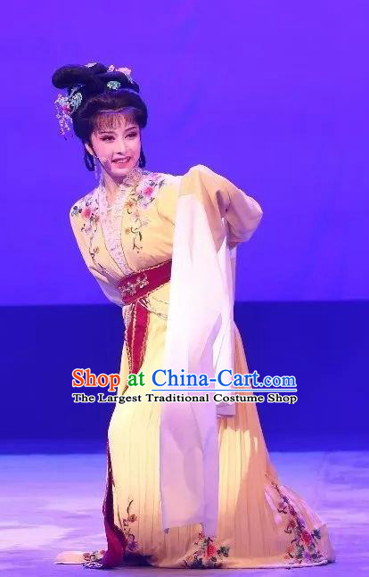 Chinese Shaoxing Opera Zhui Yu Noble Lady Jin Mudan Dress Garment Yue Opera Hua Tan Costumes Actress Apparels and Headpieces