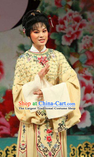 Chinese Shaoxing Opera Young Female Yellow Dress Garment Yue Opera Zhui Yu Costumes Actress Noble Lady Jin Mudan Apparels and Hair Accessories