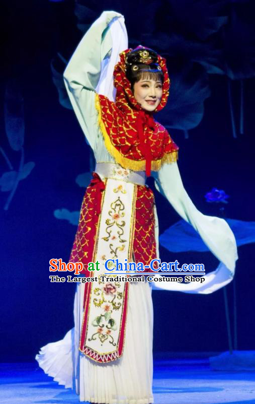 Chinese Shaoxing Opera Carp Fairy Dress Garment Yue Opera Zhui Yu Costumes Actress Xiao Dan Apparels and Headdress