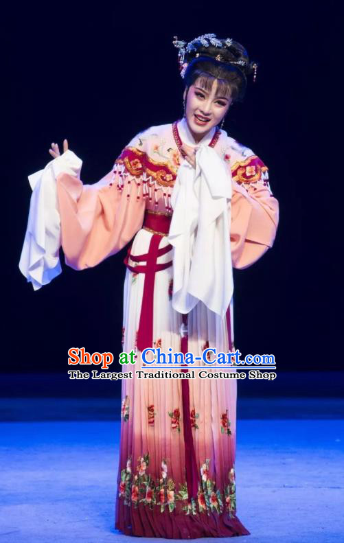 Chinese Shaoxing Opera Rich Female Young Lady Dress Garment Yue Opera Zhui Yu Costumes Actress Hua Dan Jin Mudan Apparels and Headpieces