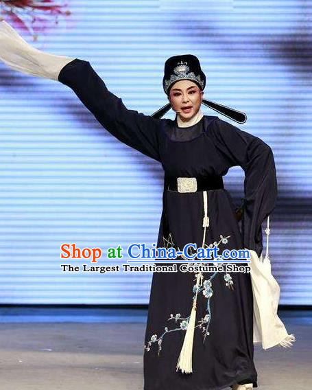Chinese Yue Opera Lu You And Tang Wan Scholar Costumes Blue Robe and Hat Shaoxing Opera Niche Poet Young Male Apparels Garment