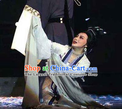 Chinese Shaoxing Opera Noble Dame Young Lady Dress Garment Yue Opera Lu You And Tang Wan Costumes Actress Hua Dan Apparels and Headpieces
