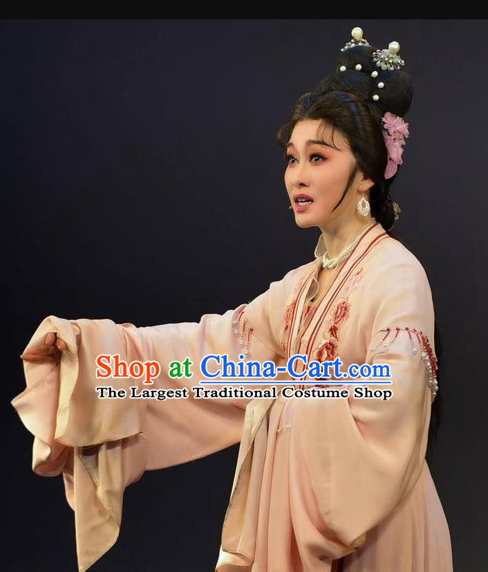 Chinese Shaoxing Opera Talented Woman Dress Garment Yue Opera Lu You And Tang Wan Hua Dan Costumes Young Female Apparels and Hair Ornaments