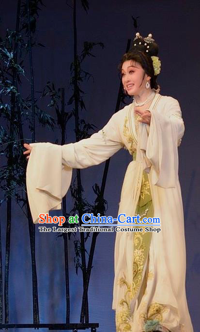 Chinese Shaoxing Opera Young Mistress Garment Yue Opera Lu You And Tang Wan Hua Dan Costumes Noble Lady Apparels Dress and Hair Accessories