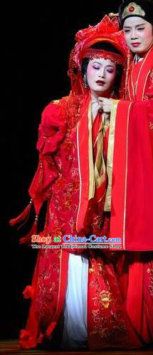 Chinese Shaoxing Opera Diva Wedding Red Dress Hua Tan Garment Yue Opera Lu You And Tang Wan Costumes Noble Lady Actress Bride Apparels and Headdress