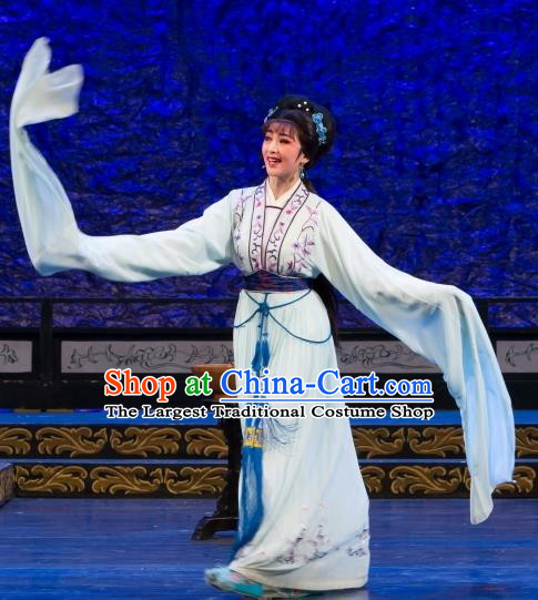 Chinese Shaoxing Opera Diva Hua Tan Dress Yue Opera Wu Nv Bai Shou Costumes Youngest Daughter Garment Yang Sanchun Apparels and Headpieces