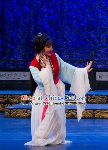 Chinese Shaoxing Opera Servant Girl Cui Yun Dress Yue Opera Wu Nv Bai Shou Costumes Xiao Dan Young Lady Apparels Garment and Hair Accessories