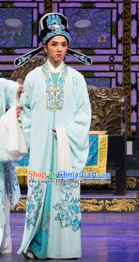 Chinese Yue Opera Scholar Wu Nv Bai Shou Costumes and Headwear Shaoxing Opera Xiaosheng Apparels Young Male Garment
