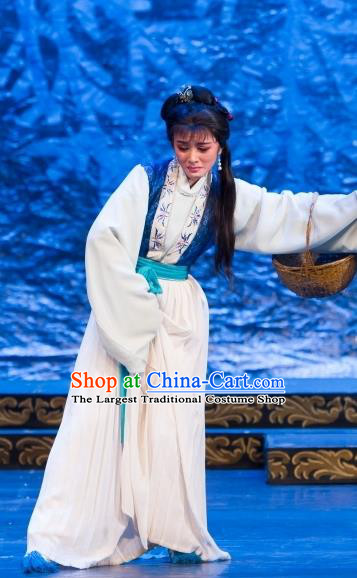 Chinese Shaoxing Opera Village Woman Dress Yue Opera Wu Nv Bai Shou Hua Dan Garment Costumes Yang Sanchun Apparels and Headdress