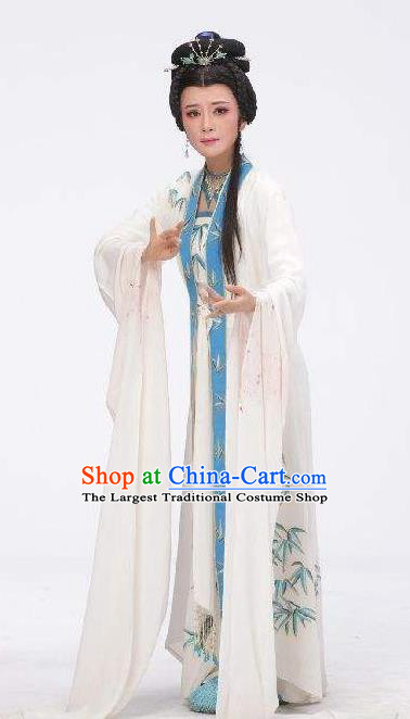 Chinese Shaoxing Opera Hua Tan White Dress and Headpieces Yue Opera Wu Nv Bai Shou Actress Garment Costumes Young Female Apparels
