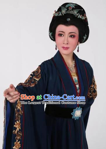 Chinese Shaoxing Opera Elderly Dame Navy Dress Hua Tan Garment Yue Opera Lu You And Tang Wan Costumes Countess Lu Apparels and Headpieces