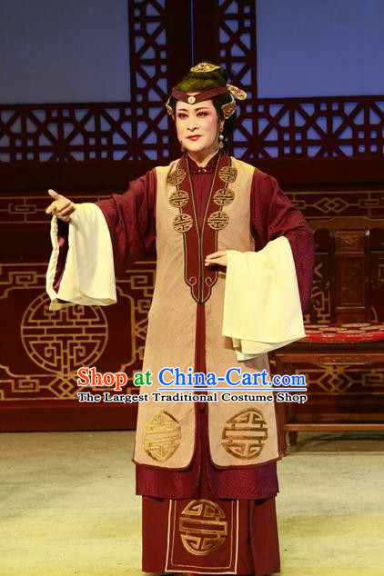 Chinese Shaoxing Opera Lao Dan Dress and Headdress Yue Opera Shuang Jiao Jie Qin Elderly Female Garment Dame Apparels Costumes