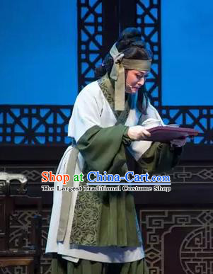 Chinese Shaoxing Opera Poor Dame Apparels Garment and Headdress Yue Opera Costumes Shuang Jiao Jie Qin Elderly Female Dress