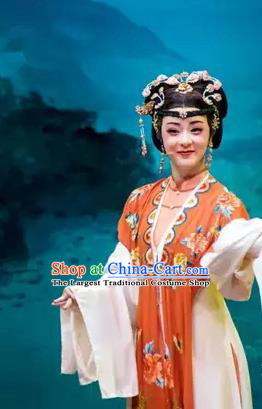 Chinese Shaoxing Opera Hua Tan Apparels and Headpieces Yue Opera Young Female Costumes Shuang Jiao Jie Qin Noble Lady Dress Garment