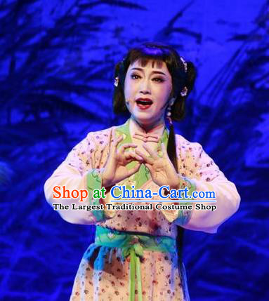 Chinese Shaoxing Opera Xiao Dan Dress and Hair Accessories Yue Opera Shuang Jiao Jie Qin Costumes Garment Slave Girl Apparels
