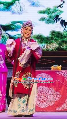 Chinese Shaoxing Opera Laodan Apparels and Headdress Yue Opera Tell On Sargam Elderly Female Dress Old Dame Garment Costumes