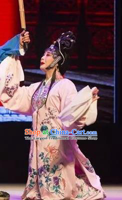 Chinese Shaoxing Opera Young Female Apparels and Headpieces Yue Opera Tell On Sargam Pink Dress Distress Maiden Garment Costumes