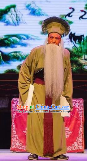 Chinese Yue Opera Tell On Sargam Elderly Male Costumes and Headwear Shaoxing Opera Laosheng Clothing Apparels Farmer Garment