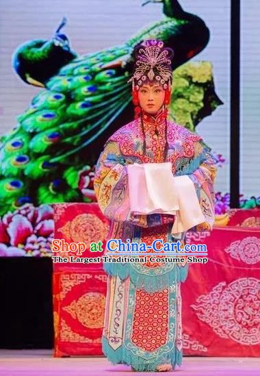 Chinese Shaoxing Opera Young Female Apparels and Headdress Yue Opera Tell On Sargam Dress Hua Tan Actress Costumes Garment