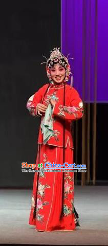 Chinese Shaoxing Opera Xiaodan Red Apparels and Headpieces Yue Opera Tell On Sargam Garment Young Lady Dress Costumes