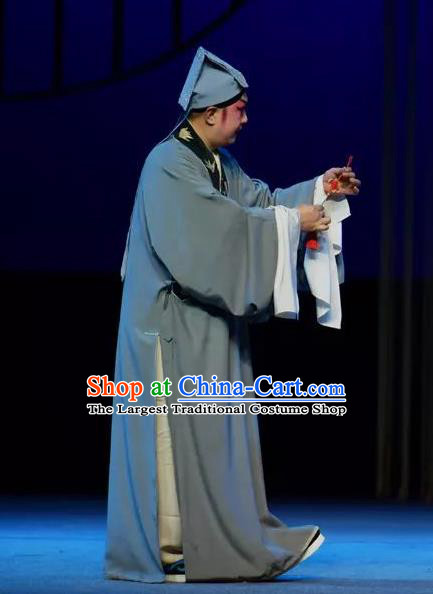 Chinese Yue Opera Young Male Tell On Sargam Costumes and Hat Shaoxing Opera Scholar Garment Clothing Apparels Niche Chen Guangzu Blue Robe