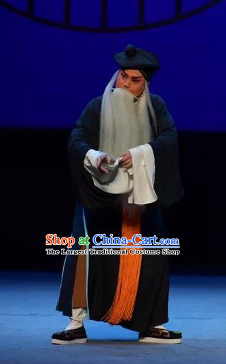 Chinese Yue Opera Elderly Male Tell On Sargam Costumes and Headwear Shaoxing Opera Garment Clothing Old Servant Zhang Zhong Apparels