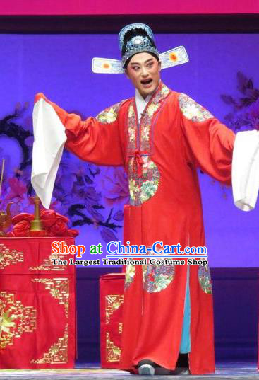 Chinese Yue Opera Young Male Tell On Sargam Costumes and Hat Shaoxing Opera Xiaosheng Garment Scholar Red Apparels Clothing