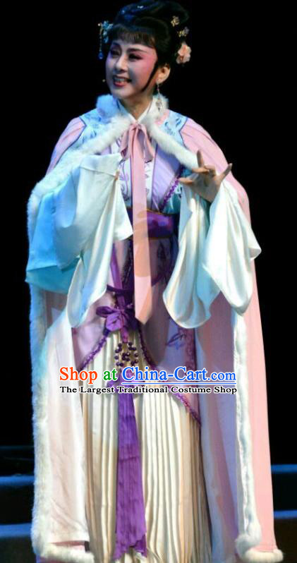 Chinese Shaoxing Opera Female Dame Dress Garment Yue Opera Hua Tan Feng Xue Yu Qiao Ji Costumes Young Mistress Yu Tianxian Apparels with Cloak and Headpieces