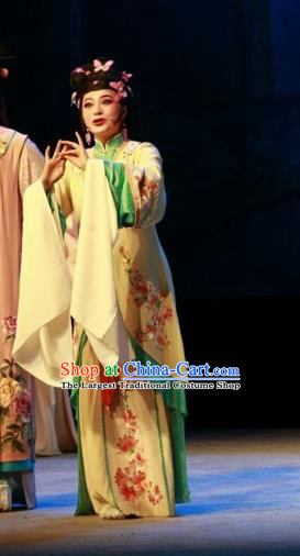 Chinese Shaoxing Opera Huadan Yellow Dress and Hair Accessories Yue Opera Shuang Jiao Jie Qin Hua Tan Costumes Garment