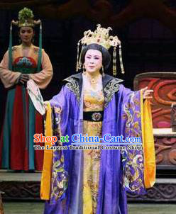 Chinese Shaoxing Opera Elderly Female Costumes and Headdress Yue Opera Farewell Song of Da Tang Apparels Empress Wu Zetian Purple Dress Garment