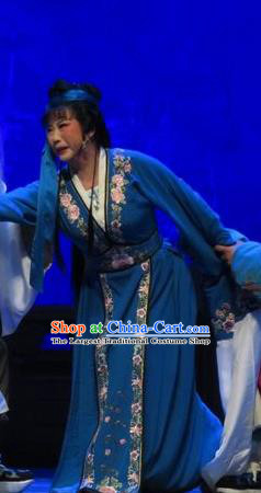 Chinese Shaoxing Opera Distress Maiden Apparels and Headwear Yue Opera Tell On Sargam Costumes Young Female Zhang zhenzhu Blue Dress Garment