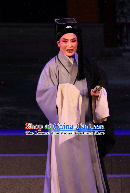 The Ungrateful Lover Qing Tan Chinese Yue Opera Poor Scholar Costumes Shaoxing Opera Garment Clothing Young Male Wang Kui Apparels and Hat