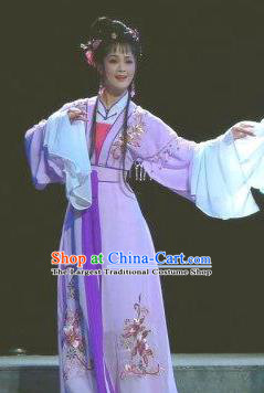 Chinese Shaoxing Opera Hua Tan Jiao Guiying Purple Dress and Hair Accessories Yue Opera The Ungrateful Lover Qing Tan Actress Garment Apparels Courtesan Costumes