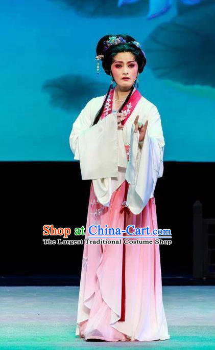 Chinese Shaoxing Opera Diva Pink Dress Hua Tan Garment Yue Opera Lu You And Tang Wan Costumes Noble Lady Apparels and Headpieces